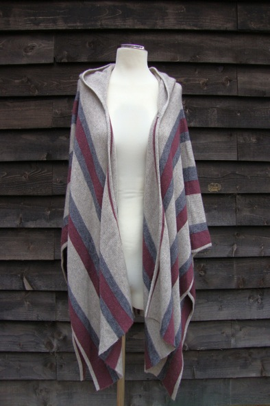 360 cashmere striped hooded knit