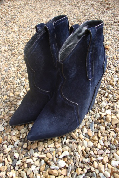 "ASH ""Janet"" midnight suede wedge boots"