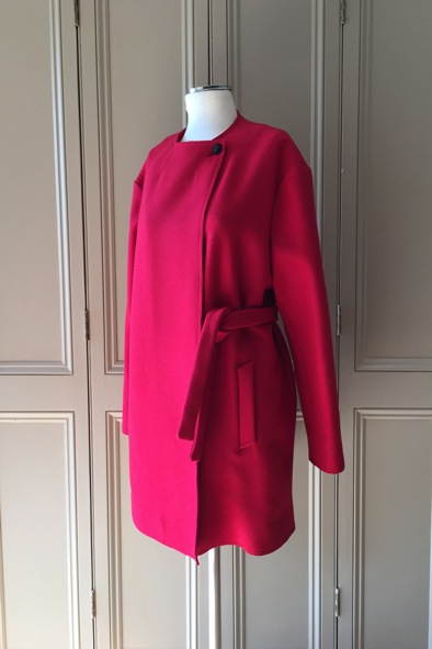 Aggugini red wool coat with tie