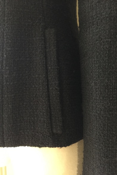 Chanel black boucle jacket with delicate pearl buttons