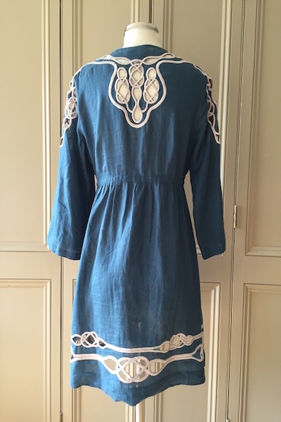 DVF Kleio teal linen kaftan with cutout embroidery detailing