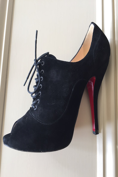 Christian Loboutin suede peep toe lace up heels