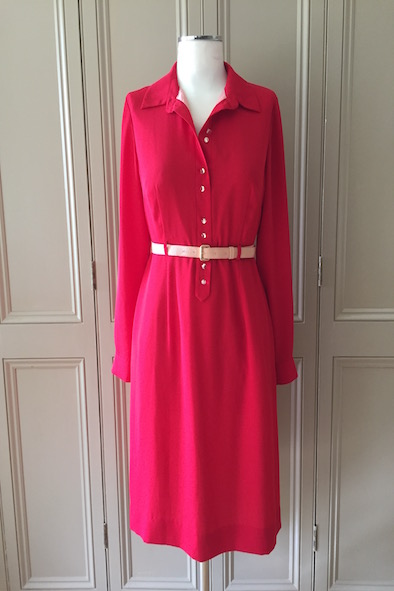 Orla Kiely red crepe georgette shirt dress