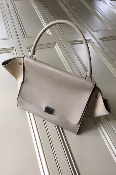 Celine beige Trapeze leather and suede bag
