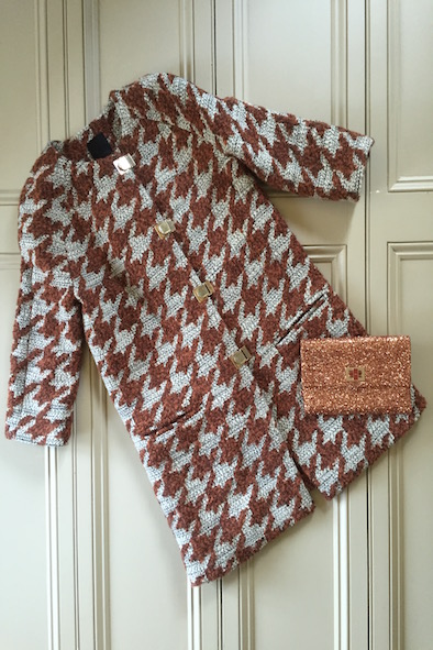 Pinko houndstooth coat & Anya Hndmarch glitter clutch