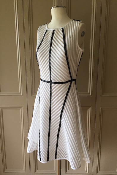 Milly Of New York white techmesh dress with black leather trim