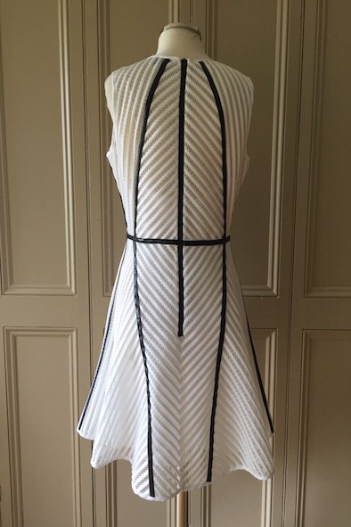 Milly Of New York white tech mesh dress with black leather trim