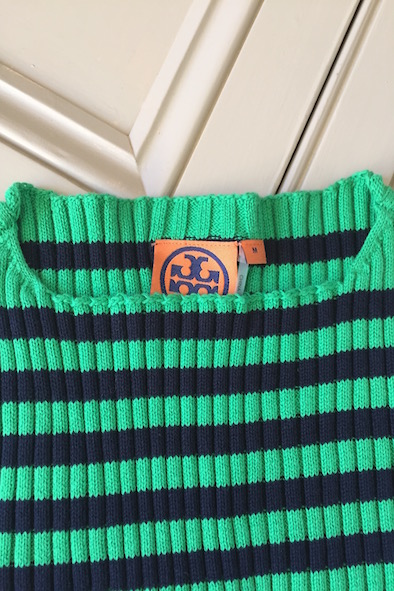Tory Burch green and navy striped cotton ribbed knit