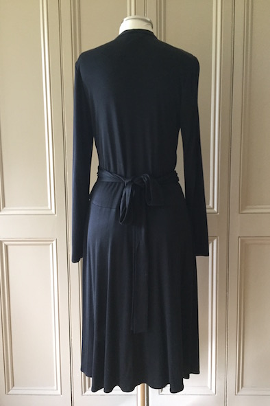 Issa black silk jersey tie-waist dress