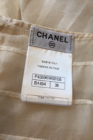 Chanel silk top with pearl buttons