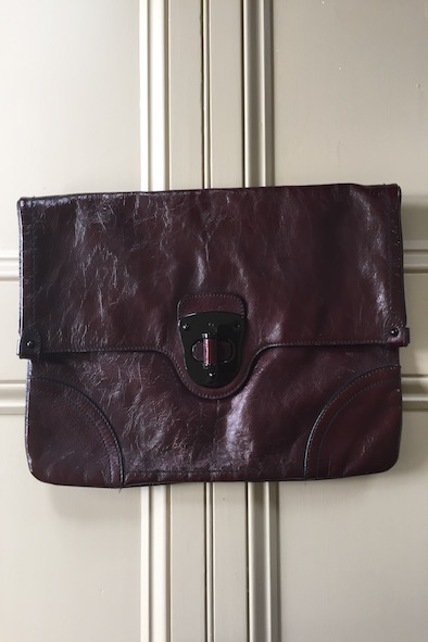Alexander McQueen oversized oxblood leather clutch