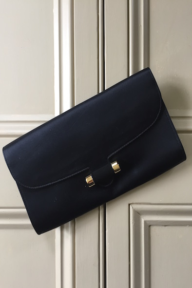 YSL black sateen clutch