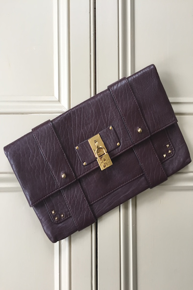 Marc Jacobs burgundy leather clutch