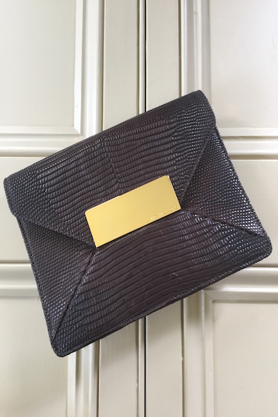 Michael Kors brown lizard-skin envelope clutch