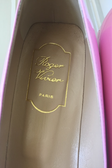 Roger Vivier pink patent pumps with buckles