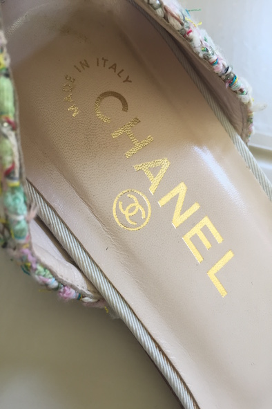 Chanel metallic tweed flats with ankle straps