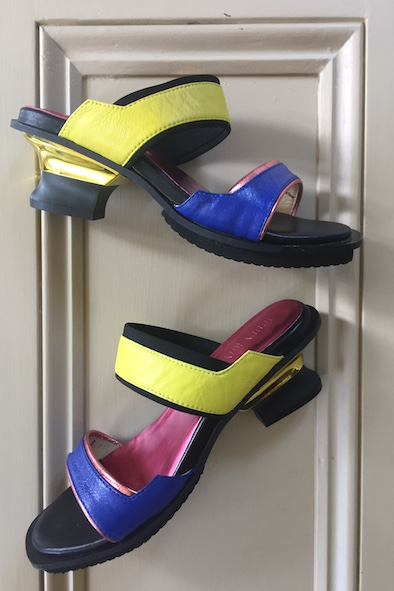 Issey Miyake yellow and blue sandals