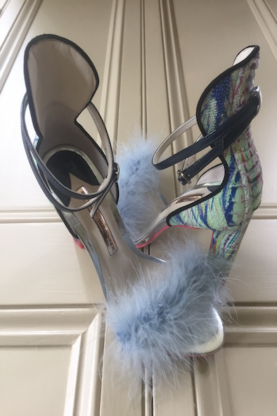 Sophie Webster marabou paint splatter heels with ankle straps