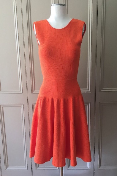 Issa orange bodycon dress with flared skirt