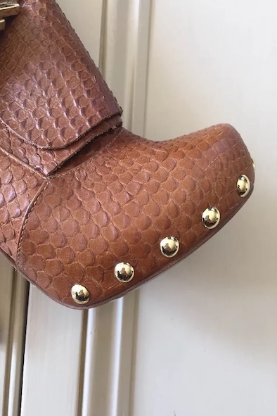 Mulberry snakeskin wrap around buckle boot