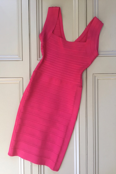 Herve Leger fuchsia-berry LuLu bandage dress