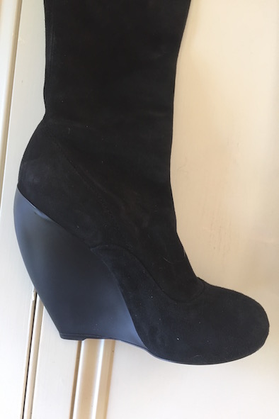 Alaia black suede over the knee boots